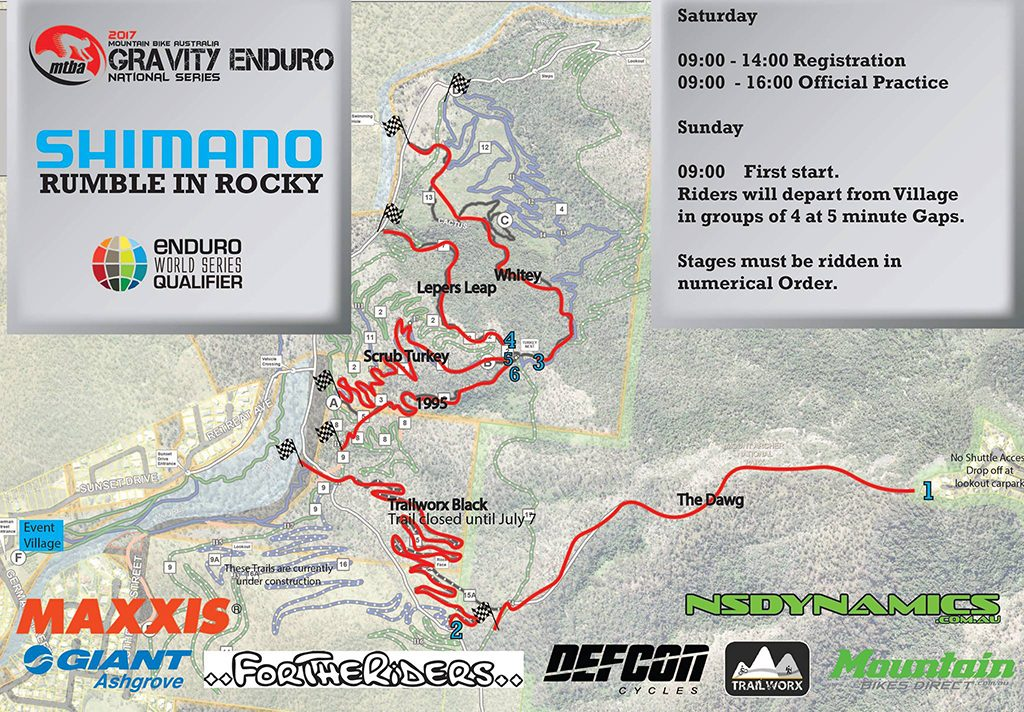 2017 National Gravity Enduro Rd 4 Map Rockhampton