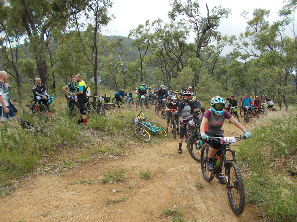 2018 Giant Rocky MTB Enduro rd 1 - Riders line up for Megatron descent